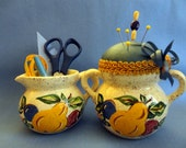 Handmade Pincushion - Vintage Fruit Design Sugar as cushion base with Creamer holding Sewing Tools, Blue and gold theme