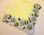 """VINTAGE Hankie - 1950s - 14"""" sq. Yellow Cotton, pattern is White Daisy Border with green leaves, white scalloped edge follows flower petals"""