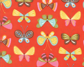 Colorful Butterfly Fabric in Orange - Wing & Leaf by Gina Martin from Moda - Fat Quarter