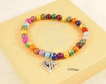 Beaded Stretchy Bracelet. Iridescent Beaded Bracelet, Charm Bracelet, Girls Stretchy Bracelet, OOAK Handmade Bracelet. CKDesigns.US