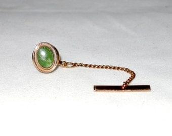 Vintage Gold Filled Lamode Jade Tie Tack