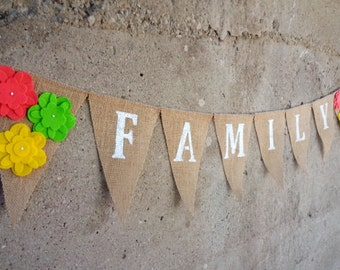 Family Burlap Banner, Family Photo Prop, Family Banner Bunting Sign
