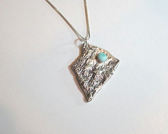 Sleeping Beauty Turquoise Pendant Sterling Necklace