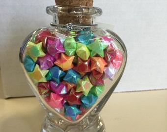 Lucky star jar, heart shaped jar, glass heart jar, origami lucky stars, lucky star, glass heart