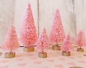 Spring Pink Bottlebrush Trees ~ Putz House Decor ~ Easter ~ Set of 8 Trees ~ Cottage Decor