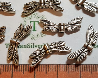 16 or 32 pcs per pack 19x5mm Dragonfly Wing Beads Antique Silver Finish Lead Free Pewter