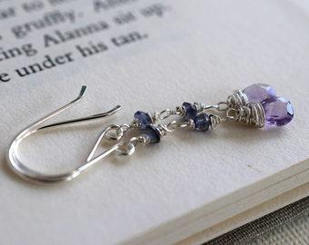 Amethyst Earrings, Iolite Earrings, Long Gemstone Earrings, Sterling Earrings, Wire Wrapped, Light Purple Gemstone Earrings, Navy Blue