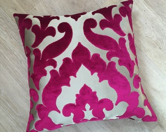 """CONTEMPORARY CUT DAMASK  Magenta Pink 50cm Square cushion cover / 20"""" Pillow sham.  Fabric by Osborne and Little Concetti Velvet - Magenta"""