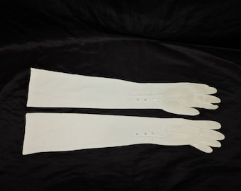 Vintage 50s White Stretch Fabric Long Opera Gloves Size XS S Button Wrists Formal Wedding Garden Party Dance