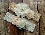 CREAM and IVORY Bridal Garter Set - Keepsake & Toss Wedding Garter - Chiffon Flower Rhinestone Lace Garters - Vintage Lace Garter