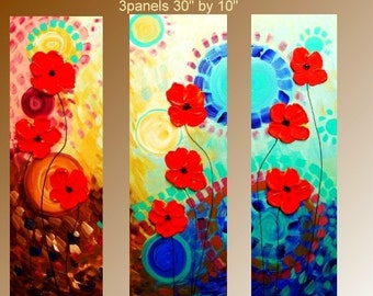 SALE Original Abstract  Painting Thick Texture Ready to Hang gallery canvas Red Poppies  by Nicolette Vaughan Horner