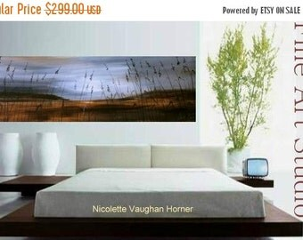"SALE ORIGINAL Huge 60""  Contemporary modern  fine  art  abstract  Florida seascape  painting on gallery canvas  by Nicolette Vaughan Horner"