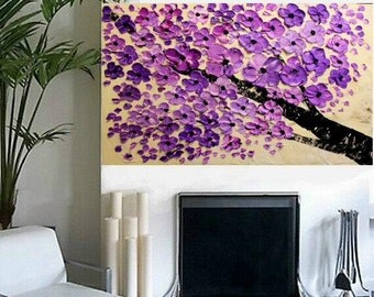 "Large 36"" Original Oil abstract Purple BlossomContemporary palette knife abstract Blossom Tree  painting by Nicolette Vaughan Horner"