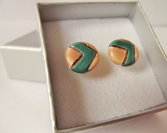Ceramic Pottery Small Stud Chevron Earrings in a Gift Box, Post Earrings, Woodland Jewellery, Everyday Earrings, Geometric Earrings