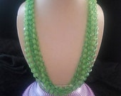 NOW ON SALE Vintage Long Necklace Flapper Length Jewelry Retro 50s 1960s Mad Men Pink Green 4 Strand High End Retro Rockabilly Collectible A