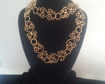 Now On Sale Gold Ornate Belt * Vintage Chunky Classy Wide Necklace * Old Hollywood Glam * Gift For Her
