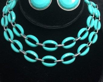 Now On Sale Vintage Aqua Lucite Necklace & Earrings Demi Parure 1950's Collectible Jewelry Set Rockabilly Mad Men Mod