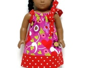 18 inch Doll Clothes Pillowcase Dress Valentine Floral Hearts Red Polka Dot
