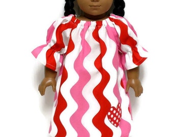 18 inch Doll Clothes Valentines Day Dress Chevron Wave Applique Heart 15 inch Doll Clothes