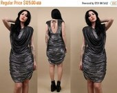15% OFF 1DAY SALE 70s 80s Vtg rare LiQuid Metal Silver Cocoon Draped Mini Dress / Glam Cocktail Party Avant Garde Holiday / Sexy Metallic /
