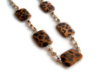 Gold and Leopard Long Necklace