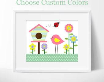Nursery or children's room artwork, birds, flowers, birdhouse, garden, spring, pink, girl, ladybug, green, purple, floral, custom colors