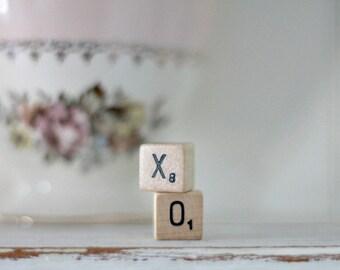 vintage wood block word XO