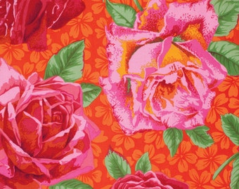 ROSE BLOOM-red by the half yard Kaffe FASSETT Philip Jacobs Spring 2015 cotton quilt craft fabric Westminster Fibers-pink roses on orange