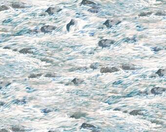 BEAR MEADOW-white water rapids -rocks- landscape  by the 1/2 yard Wilmington fabric-94758-149