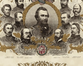 CHAMBERLAIN~Windham  fabric panel~CIVIL WAR Generals of the Potomac, Grant, Union ~18 by 44 inches ~30832pa-x