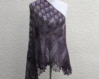 Knitted shawl, bridesmaids shawl, knit shawl in violet color, shawl with nupps, wedding shawl, gift for her
