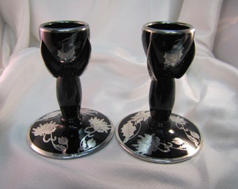"""Vintage Holiday Sterling Overlay 5-1/2"""" Christmas Themed Black Glass Candlesticks"""