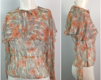 As Is Vintage 1960s 1970s Orange Floral  Sheer Blouse Lingerie Top  Flutter Collar / Women's Small / 60s Boho Beach Off The Shoulders