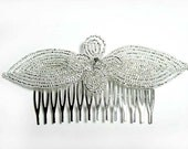 Silver CL Crystal French Beaded Decorative Hair Comb - Sparkle Collection