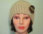 Beige Cream Knit Cloche Hat with Button