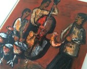 """Vintage Jazz Painting with Subtle Earth Tones 17 x 16"""""""