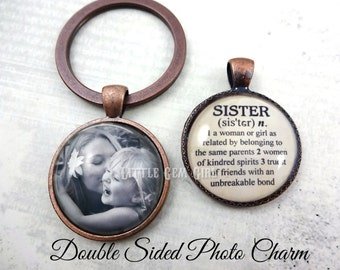 Custom Photo Sister Key Chain - Personalized Double Sided Best Friend Quote Jewelry - Sister Dictionary Definition Charm