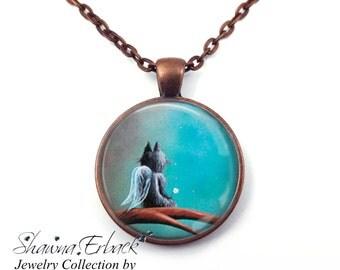 Cat Fairy Necklace - Inspirational Jewelry - Dream Necklace - Kitten Jewelry - Black Cat - Artwork by Shawna Erback - Fairy Tale Fantasy Art