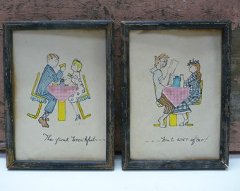Two Vintage Framed Original paintings Mixed media Cartoon Marriage Humor First Breakfast Before After Marriage