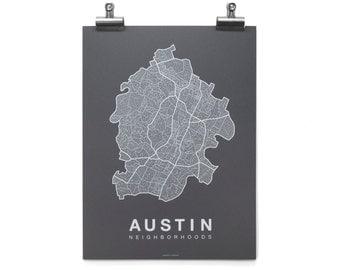 Austin Neighborhood Map - White on Charcoal