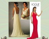 Vogue Sleeveless Bridal Gown with Detachable Train & Low Back, Size 4-6-8, Bust 29-30-31 OR 10-12-14 Bust 32-34-36 Vogue Sewing Pattern 2965