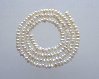 "SALE Natural Keshi pearls 3.5mm 3"" strand"