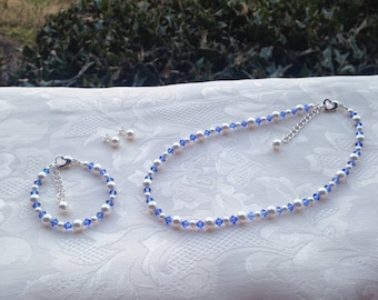 Sapphire Blue Flower Girl Jewelry Set Prom Sorority White Swarovski Pearls and Blue Crystals Bridal Jewelry Set