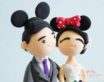 Custom Cake Topper- Cute Mickey & Minnie Couple