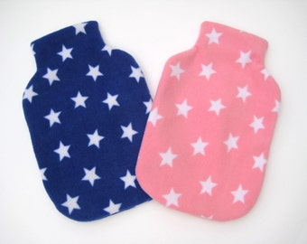Polar Fleece Hot Water Bottle Cover - Pink or Blue with White Stars, Regular Size Cover
