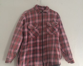 Pink Flannel Jacket Fleece Lining Double Thick Plaid Coat Grey Gray Fleece Lined Zip Zipper Shirt