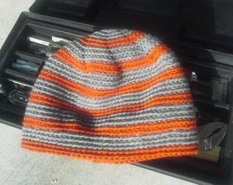 Men's Hat - Alpaca Wool Cap Crochet Slouch for Hiking Biking Skiing Skating Gray Orange Striped (One Size - Ready to Ship)