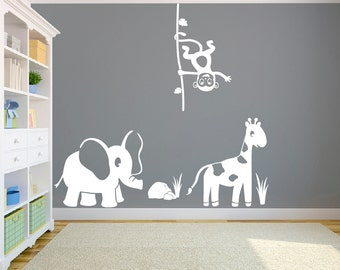 Safari animals Vinyl Wall Decal Sticker, Self-Adhesive, Multiple Colors