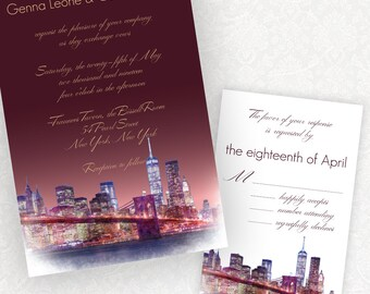 Penthouse Dreams, Manhattan New York skyline wedding invitations from watercolor, modern typography, customizable wording and colors, ombre