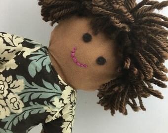 JULIA--cloth doll in brown cream green dress--brown skin, dark brown hair, brown eyes (FREE shipping in USA)